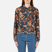 Gestuz Women's Brielle Printed Bomber Jacket Teal Flower Print Multi