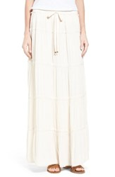 Bobeau Women's Tiered Maxi Skirt Taupe