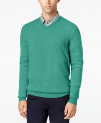Club Room Cashmere V Neck Solid Sweater Teal Heather