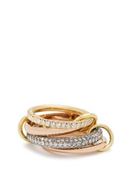 Spinelli Kilcollin Vega Diamond Silver Yellow And Rose Gold Ring
