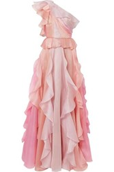 Marchesa One Shoulder Ruffled Silk Organza Gown Pink