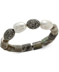 Paul And Pitu Naturally 14K Gold Plated Crystal Stone Imitation Pearl Stretch Bracelet Hematite