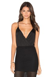 Blaque Label Deep V Neck Sleeveless Bodysuit Black