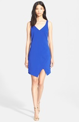 Jay Godfrey Asymmetrical Stretch Crepe Wrap Dress Electric Blue