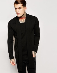 Asos Longline Long Sleeve T Shirt With Scoop Neck And Scarf Black