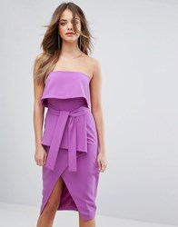 Lavish Alice Bandeau Tie Midi Dress Bright Purple
