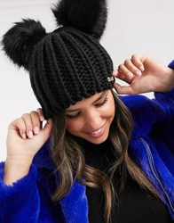 River Island Knitted Beanie Hat With Pom Poms In Black