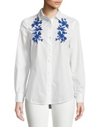 Lord And Taylor Petite Embroidered Cotton Button Down Shirt White