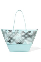 Sophie Anderson Brenna Laser Cut Textured Leather Tote Mint
