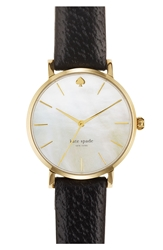 Kate Spade 'Metro' Round Leather Strap Watch 34Mm Gold Black
