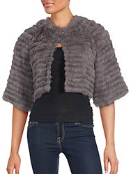 La Fiorentina Solid Rabbit Fur Cropped Jacket Grey
