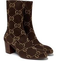 Gucci Leather Trimmed Logo Jacquard Boots Brown