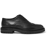 Burberry Pebble Grain Leather Wingtip Brogues Black