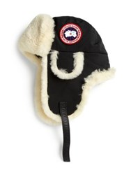Canada Goose Arctic Tech Shearling Pilot Hat Sunset Orange Navy Black Graphite