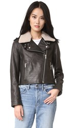 Doma Moto Jacket With Shearling Collar Black
