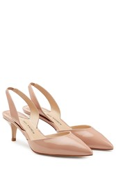Paul Andrew Patent Leather Kitten Heels Beige