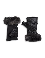 Ur Powered Faux Fur Accented Tech Gloves Black