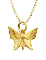 Lord And Taylor Origami Butterfly Pendant Necklace Gold
