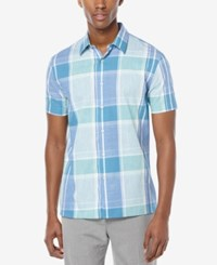 Perry Ellis Men's Chambray Plaid Short Sleeve Shirt Green Stone