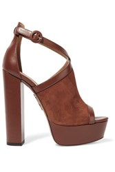 Aquazzura Issa Suede And Leather Platform Sandals Chocolate