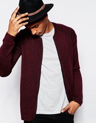 Asos Knitted Bomber In Merino Wool Mix Burgundytwist