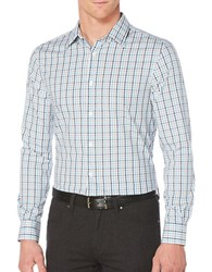 Perry Ellis Travel Luxe Tattersall Striped Shirt Bright White