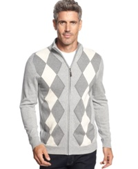 Tasso Elba Big And Tall Argyle Full Zip Sweater Only At Macy's Light Grey Combo