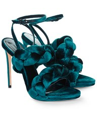 Marco De Vincenzo Peacock Velvet Plaited Strap Sandals Navy