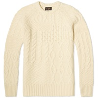 Beams Plus Crazy Aran Crew Knit White