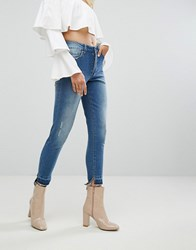 Arrive Skinny Jean With Stepped Hem And Shadow Pocket Detail Blue