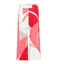 Marni Printed Wide Leg Trousers Red