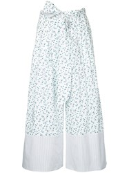 G.V.G.V. Liberty Floral Print Palazzo Trousers Women Cotton Polyester Polyurethane 36 White