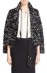 St. John Women's Collection Eyelash Fringe Tweed Moto Jacket