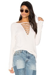 Pam And Gela Crew Neck Lace Up Sweatshirt White
