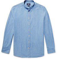 Hackett Slim Fit Grandad Collar Cotton Chambray Shirt Light Blue