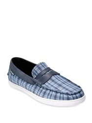 Cole Haan Pinch Weekender Plaid Penny Loafers Blue