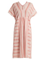 Masscob V Neck Striped Cotton Dress Pink Stripe