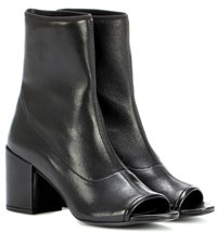 Stuart Weitzman Bigkoko Bingo Leather Peep Toe Ankle Boots Black