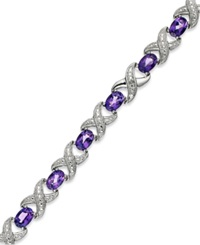 Macy's Sterling Silver Bracelet Amethyst 6 1 2 Ct. T.W. And Diamond Accent Xo Bracelet