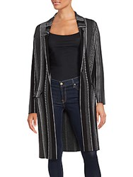 Saks Fifth Avenue Black Striped Long Sleeve Jacket Black