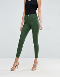 Asos Rivington High Waist Denim Jeggings In Forest Green Forest Green