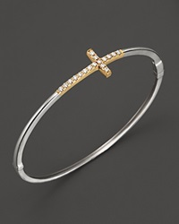 Bloomingdale's Diamond Cross Bangle In 14K White And Yellow Gold 0.25 Ct. T.W.