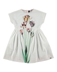 Molo Cap Sleeve Poplin Tulip Dress White