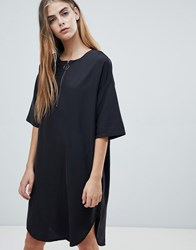 Native Youth Shift Dress With Half Zip Black