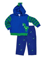 Florence Eiseman Hooded Dinosaur Zip Up Sweater W Corduroy Embroidered Pants Multi