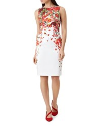 Hobbs London Fiona Floral Print Dress Ivory Red