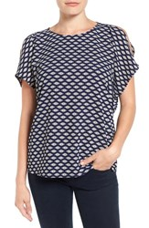 Gibson Women's Cold Shoulder Blouse Beaded Navy