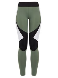 Charli Cohen Laser Colour Block Performance Leggings Khaki Multi