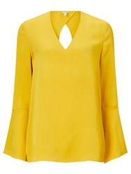 Jigsaw Fluted Sleeve Viscose Blouse Yellow