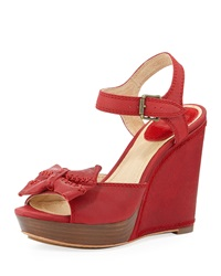 Frye Alexa Leather Bow Wedge Red
